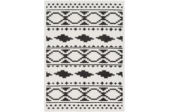 "7'8""x10'3"" Rug-Graphic Tile Shag Black & White"