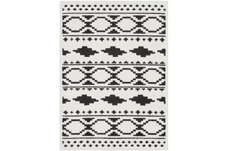 94X123 Rug-Graphic Tile Shag Black & White - Main