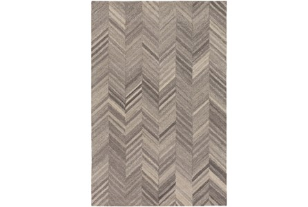 96X120 Rug-Wool Tufted Chevron Grey Tones