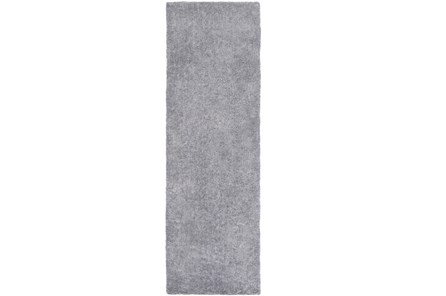 30X96 Rug-Plush Pile Light Grey