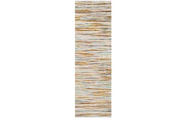 31X94 Rug-Static Sheen Orange And Blue