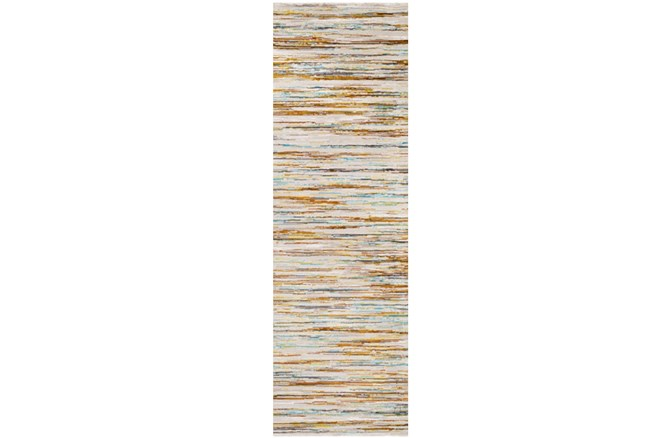31X94 Rug-Static Sheen Orange And Blue - 360