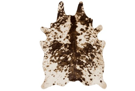 60X78 Rug-Faux Hide Brown And Cream Spots
