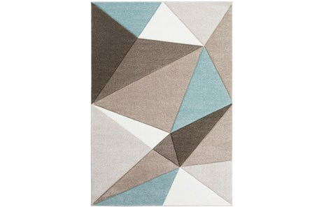 24X36 Rug-Gem Facets Taupe And Aqua