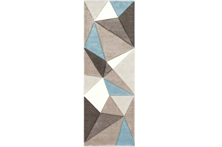 31X90 Rug-Gem Facets Taupe And Aqua