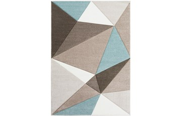 63X90 Rug-Gem Facets Taupe And Aqua