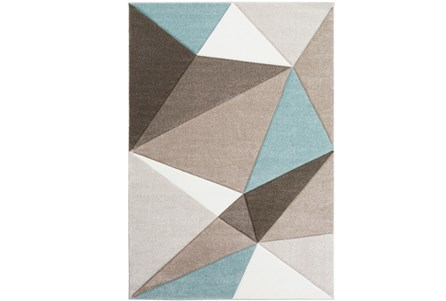 94X123 Rug-Gem Facets Taupe And Aqua