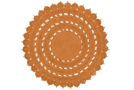 60 Inch Round Rug-Jute Medallion Orange