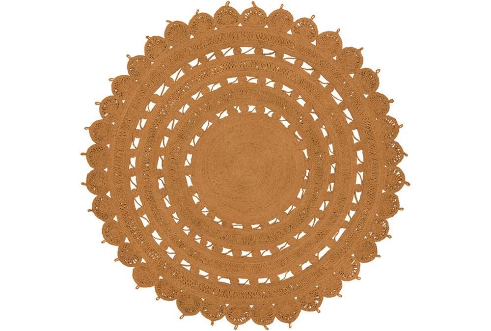 96 Inch Round Rug-Jute Medallion Orange
