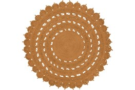 96 Inch Round Rug-Jute Medallion Orange
