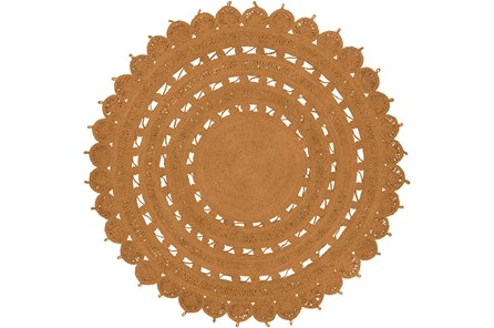 96 Inch Round Rug-Jute Medallion Orange - Main