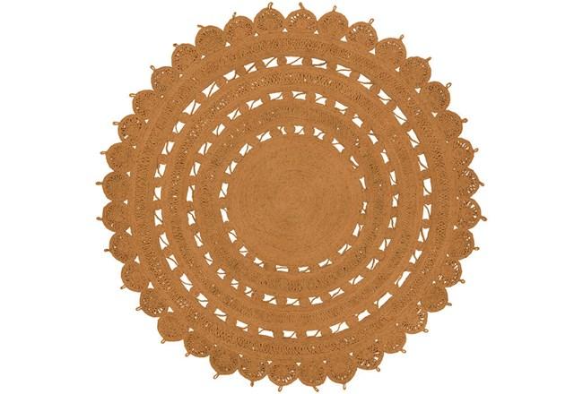 96 Inch Round Rug-Jute Medallion Orange - 360