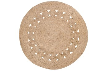 36 Inch Round Rug-Jute Medallion Wheat