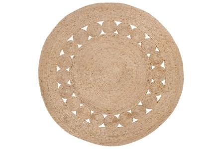 36 Inch Round Rug-Jute Medallion Wheat