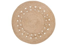 60 Inch Round Rug-Jute Medallion Wheat
