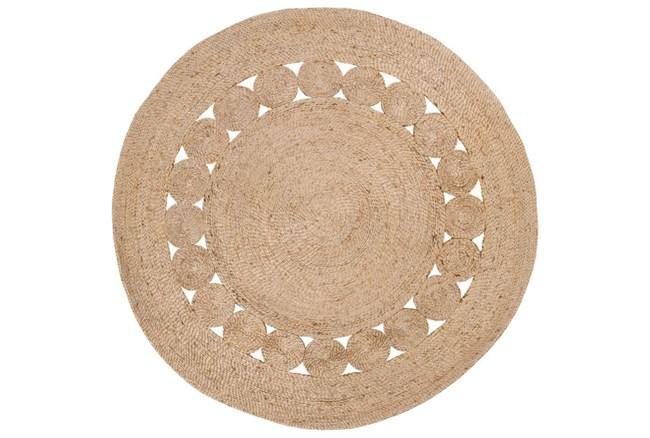 60 Inch Round Rug-Jute Medallion Wheat - 360