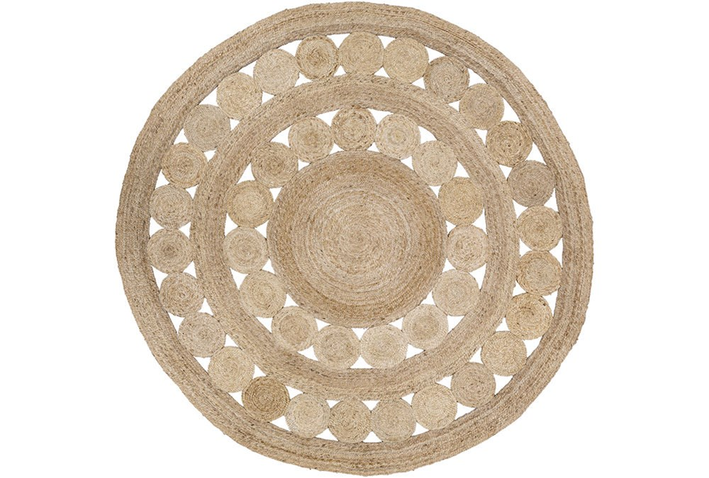 96 Inch Round Rug-Jute Medallion Wheat