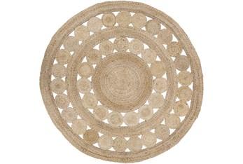 8' Round Rug-Jute Medallion Wheat