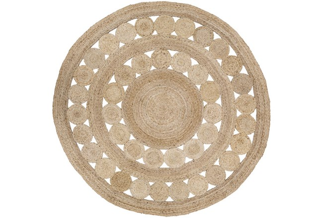 96 Inch Round Rug-Jute Medallion Wheat - 360