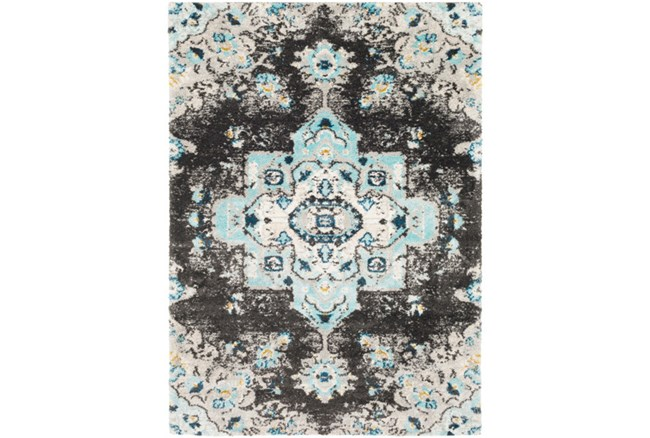 24X36 Rug-Medallion Shag Aqua & Grey - 360