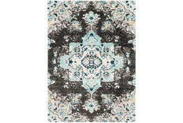 79X114 Rug-Medallion Shag Aqua & Grey