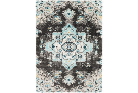 94X123 Rug-Medallion Shag Aqua & Grey