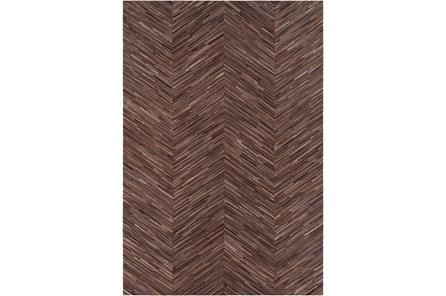 24X36 Rug-Chevron Hair On Hide Dark Brown