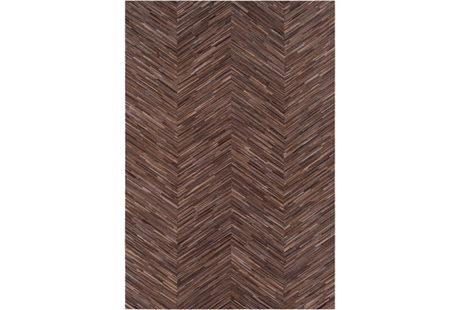 24X36 Rug-Chevron Hair On Hide Dark Brown - 360