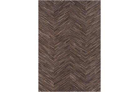 60X96 Rug-Chevron Hair On Hide Dark Brown