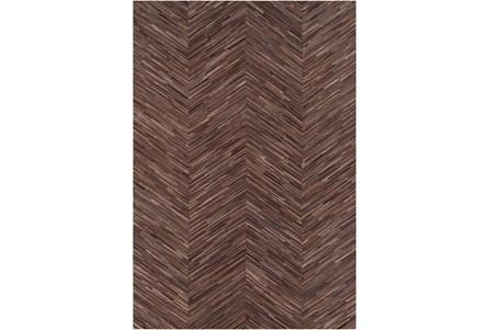 96X120 Rug-Chevron Hair On Hide Dark Brown