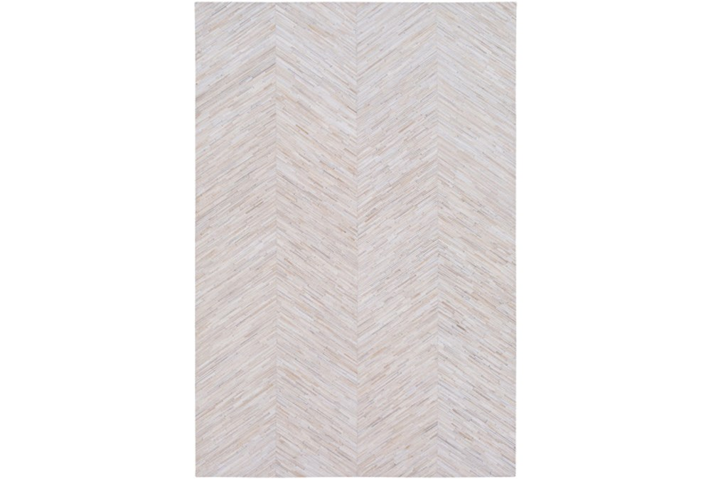 24X36 Rug-Chevron Hair On Hide Cream