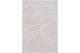 60X96 Rug-Chevron Hair On Hide Cream