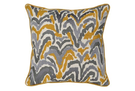 Accent Pillow-Ochre And Grey Squiggles 22X22