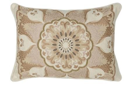 Accent Pillow-Natural Center Flower Damask 14X26 - Main