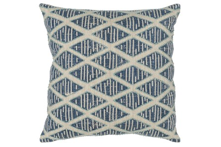 Accent Pillow-Marine Blue Textured Diamond 22X22 - Main