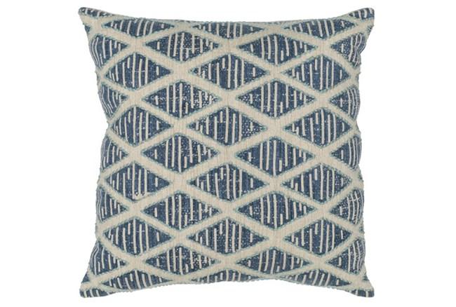 Accent Pillow-Marine Blue Textured Diamond 22X22 - 360