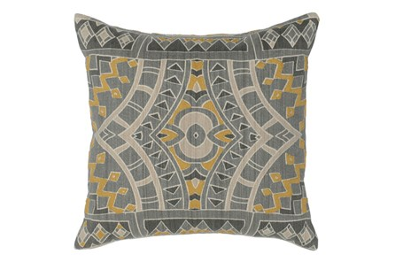 Accent Pillow-Ochre Yellow Mosaic Pattern 18X18