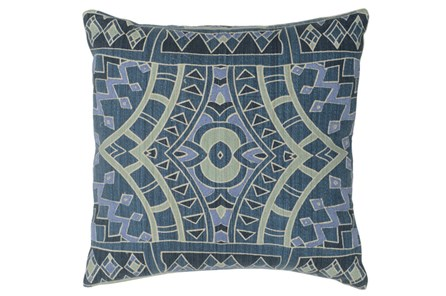Accent Pillow-Marine Blue Mosaic Pattern 18X18