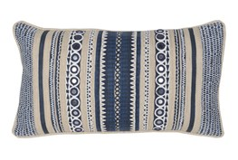 Accent Pillow-Marine Blue Patchwork Stripes 14X26