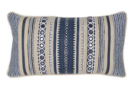 Accent Pillow-Marine Blue Patchwork Stripes 14X26
