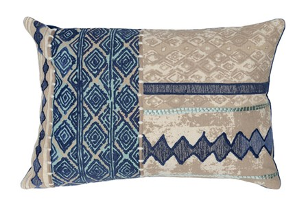 Accent Pillow-Marine And Natural Batik Patchwork 14X26