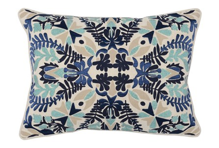 Accent Pillow-Marine Blue Deco Flowers 14X26