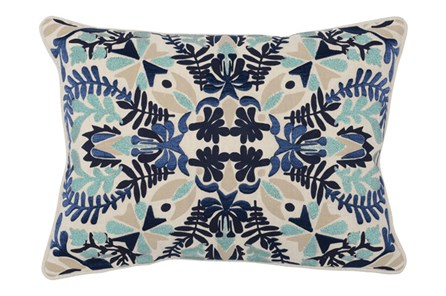 Accent Pillow-Marine Blue Deco Flowers 14X26 - Main