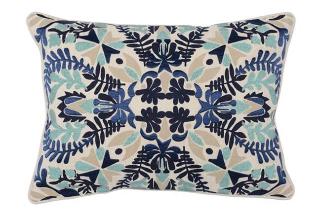 Accent Pillow-Marine Blue Deco Flowers 14X26 - 360
