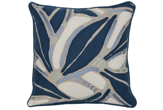 Accent Pillow-Marine Blue Leaf Pattern 18X18 - 360