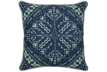 Accent Pillow-Marine Blue Batik Pattern 22X22