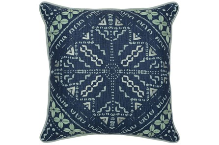 Accent Pillow-Marine Blue Batik Pattern 22X22 - Main