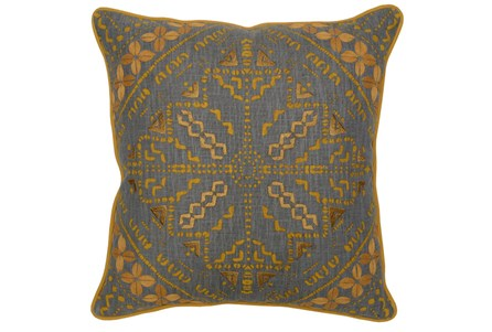 Accent Pillow-Ochre Yellow Batik Pattern 22X22