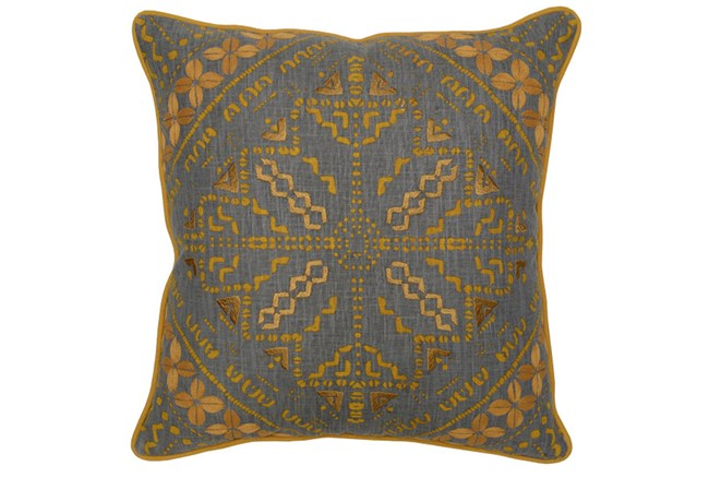 Accent Pillow-Ochre Yellow Batik Pattern 22X22 - 360