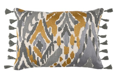 Accent Pillow-Ochre Yellow Ikat Tassels 14X26